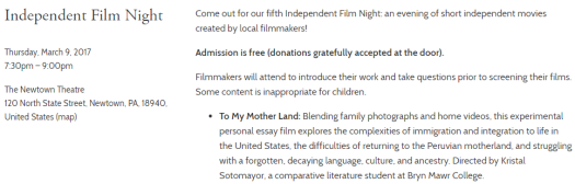 """To My Motherland"" Screening at the Independent Film Night at The Newtown Theatre"