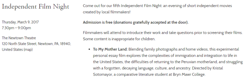 """""""To My Motherland"""" Screening at the Independent Film Night at The Newtown Theatre"""